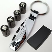 Peugeot Car Keyring + 4x Tyre Valve Dust Caps With Box Gift Ideas For Him Her