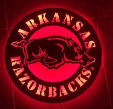 Arkansas Razorback Round Metal Wall Decor Art - Red LED Light - Free Shipping