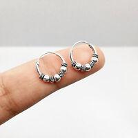 New Pair Of Sterling Silver 925 Bali Ball Hoop Earrings 10mm Oxidized Hoops