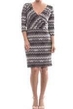 Joseph Ribkoff Gray White Chevron Knit Dress Style 174688 Size US 8 UK 10 NEW