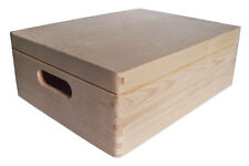 * Pine wood storage box with lid & handles 40x30x14cm DD169 archive chest (A)