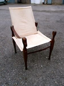 ANTIQUE 1920's TEAK FRAMED COLLAPSIBLE CANVAS LEATHER CAMPAIGN CHAIR TO RESTORE