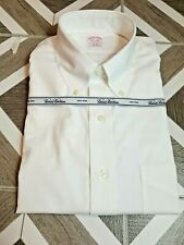 Brooks Brothers Dress Shirt Men 16.5 x 33 Oxford Regular Fit Cotton White Button