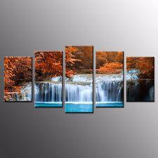 FRAMED Canvas Art Print Painting Autumn Waterfall Photo Home Wall Art Decor-5pcs