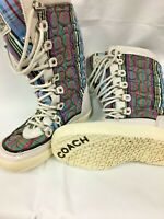 Coach Peggey Signature Size 5 B Women's Snow Boots Shearling striped Lace Up