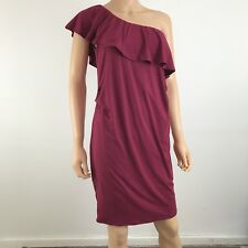 PINK BLUSH Ruched Side one Shoulder Knit Burgundy   Maternity Dress Size L