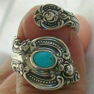 Retro Ancient Oval Blue Stone   Bohemian Turquoises Rings Tibetan adjustable S