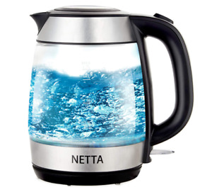 NETTA Electric Glass Kettle 1.7L Capacity Fast Boil Blue LED with Flip Top 2200W