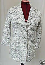 *GEOFF BADE* Linen AU Made Embroidered Black White Cotton Suit Jacket Blazer 10