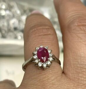 Natural Ruby & Diamond Ring Oval Shape in Solid 14K White Gold Sz 6
