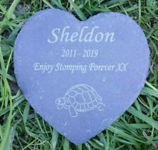 Personalised Engraved Slate Stone Heart Pet Memorial Grave Plaque tortoise