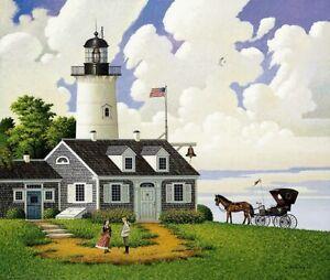 "Charles Wysocki Jayson Sparkin the Lighthouse.... Daughter PRINT Signed  17""x21"""