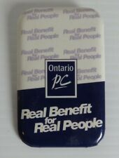 VINTAGE ONTARIO PC REAL BENEFIT FOR REAL PEOPLE PIN PINBACK BUTTON    (INV23420)