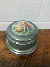 Vintage Metal Musical Powder Box With Puff Courting Couple