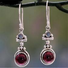 Long 925 Silver Moonstone Red Agate Dangle Hook Earrings Wedding Jewelry Retro