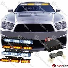 36 White Amber Yellow LED Emergency Truck Strobe Flash Light Front Visor Rear