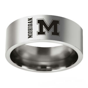 Silver Stainless Steel Michigan Wolverines Team Rings Men's Band Size 6-13