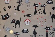 Tissu ameublement fantaisie thème chats 30 cm x 140 cm