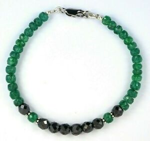 Emerald Gemstone Bracelet with Black Diamond Bead! Certified Beads, 46 Carat