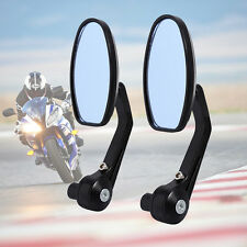 Two X Round Universal Motorcycle Bar End Mirrors Bike Motorbike Rear-view Cycle