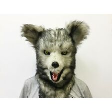 ADULT WOLF WEREWOLF ANIMAL MOUTH MOVING FURRY COSTUME OVER THE HEAD MASK SNOW
