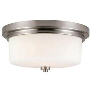 Design House Aubrey 2-Light Satin Nickel Ceiling Mount Light 556654