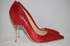 New $550 KURT GEIGER London Britton Red Glitter Cigarette Heel Pump Shoes 8 US
