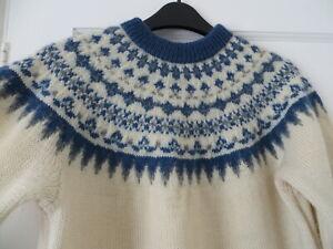 Vtg hand knit Norwegian nordic fair isle yoke 50s/ 60s blue cream wool jumper M