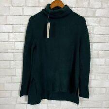 Womens Sweet Romeo Dark Teal Turtleneck Chunky Knit Oversized Green Sweater