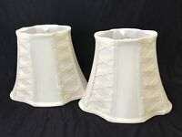 Vtg Pair 2 Ivory Cream Off-White Fabric Lamp Shades Art Deco Boudoir Small 9.75""
