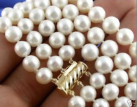 3 Rows 8-9mm Natural White Cultured Akoya Pearl Necklace 18''19''20'' AA++