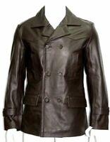 Men Sheepskin 100% Leather Blazer Jacket THREE BUTTON Double Breasted Brown Coat