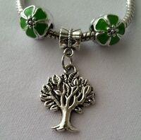 Tree of Life Charm Pendant CZ Bead for European Bracelet Necklace Green