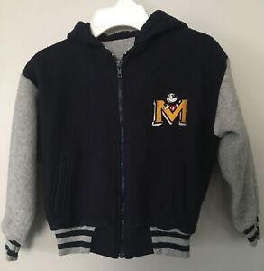 Mickey Mouse Letterman Jacket Hoodie Disney Store Navy Gray Full Zip Up Sz S 6/8