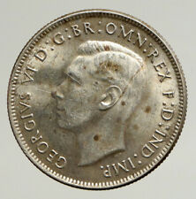 1943M AUSTRALIA Large King George VI Kangaroos VINTAGE Silver Florin Coin i93705