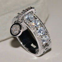 Women Fashion Sparkle Silver Plated Wedding Lover Disc Ring Zircon Jewelry Gift