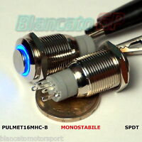 PULSANTE SPDT MONOSTABILE LED BLU 12V IP67 waterproof auto moto round switch kfz