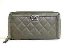 Authentic CHANEL Boy Chanel Khaki Lambskin Long Wallet