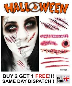 Halloween Zombie Horror Scab Scars Wound Scratch Temporary Tattoos Costume Party