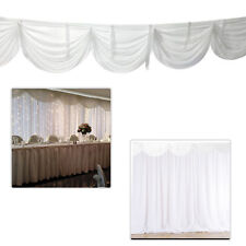 Backdrop Curtains with Detachable Swag White Ice Silk Wedding Party Event Decor
