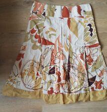 Principles petite skirt mustard orange brown green sequins embroidery floral 12