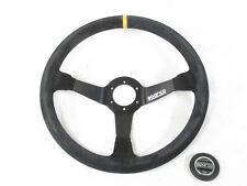 Sparco R368 Steering Wheel 380mm Black Suede 65mm Dish w/Yellow Centering Stripe