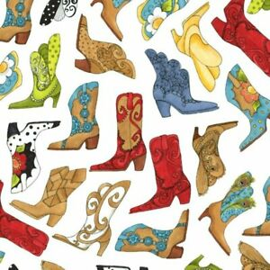 Loralie Designs White Tossed Cowgirl Boots Cotton Fabric 692-319-12 BTY