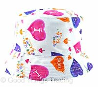 Baby Sun Hat Summer Beach Hat Bucket Style Floral Or Hearts Toddler Kids 1-4 Yrs