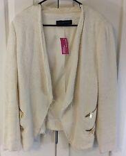 NWT! Zara Woman suede-like waterfall jacket natural beige size Large