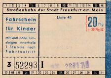 ANTIGUO BILLETE para niños Tranvía Frankfurt am Main, Alemania (g1087)