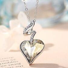 Swarovski Element Crystal Yellowish White Heart Necklace Pendant Chain Jewellery