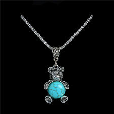 Wholesale Cute Bear Women Retro Bohemia Style Turquoise Stone Necklace & Pendant