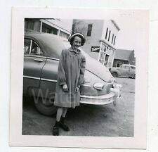 1950 Vintage photo Teenage girl standing by car automobile Nutrena Feed Sign #1
