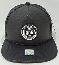 MARIJUANA Snapback Cap Hat 420 Weed Pot Mary Jane Faux Leather Black NWT
